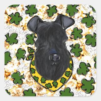 Sticker Carré Bleu de Kerry Terrier