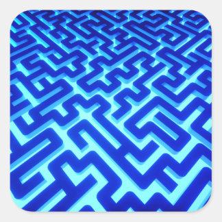 Sticker Carré Bleu de labyrinthe