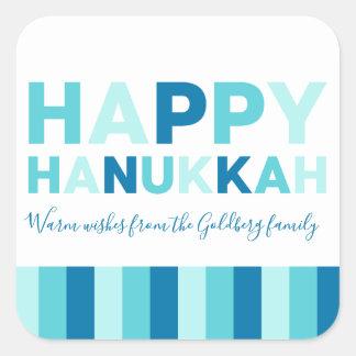 Sticker Carré Bleu moderne simple de Hanoukka | et turquoise