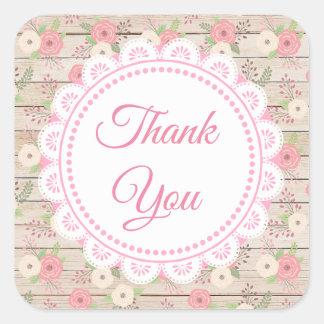 Sticker Carré Bois rustique et fleurs épousant le Merci