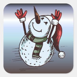 Sticker Carré Bonhomme de neige avec le casquette de Père Noël -