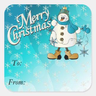 Sticker Carré Bonhomme de neige bleu de flocon de neige de
