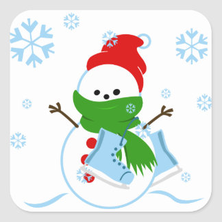 Sticker Carré Bonhomme de neige mignon avec des patins de glace