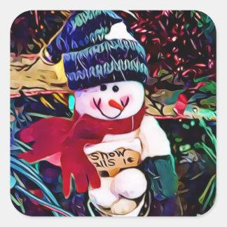 Sticker Carré Bonhomme de neige mignon avec le seau de Noël de