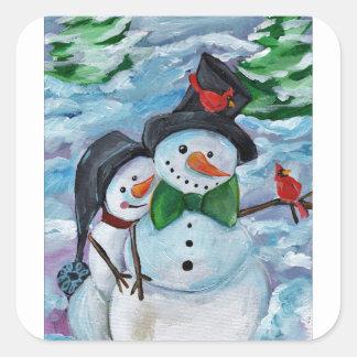 Sticker Carré Bonhommes de neige de visite cardinaux