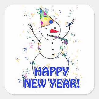 Sticker Carré Bonne année du bonhomme de neige de célébration