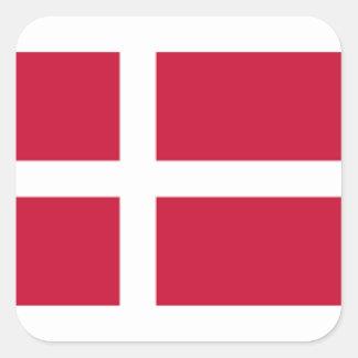 Sticker Carré Bonne copie de drapeau du Danemark de couleur