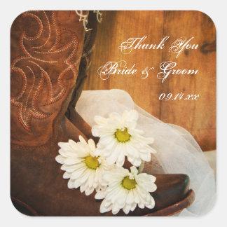 Sticker Carré Bottes de cowboy de marguerites épousant des