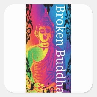 Sticker Carré Bouddha cassé au néon