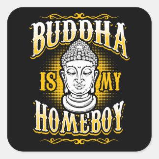 Sticker Carré Bouddha est mon Homeboy