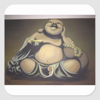 Sticker Carré Bouddha riant