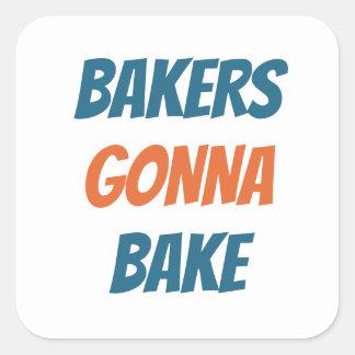 Sticker Carré Boulangers allant faire l'autocollant cuire au