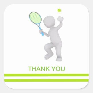 Sticker Carré boule de raquette de tennis de joueur de tennis 3D