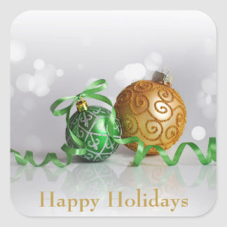 Sticker Carré Boules de Noël de Bokeh de Noël