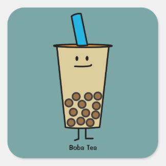 Sticker Carré Boules de tapioca de thé de lait de perle de Boba