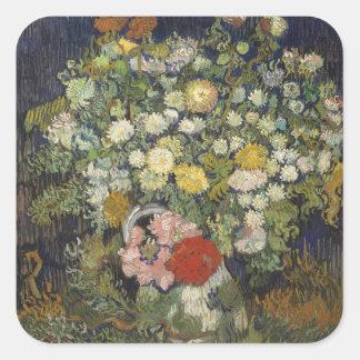 Sticker Carré Bouquet des fleurs dans un vase