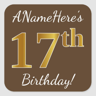 Sticker Carré Brown, anniversaire d'or de Faux 17ème + Nom fait