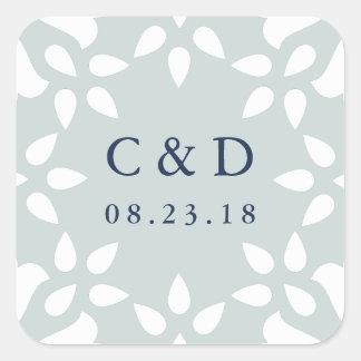 Sticker Carré Brume de l'autocollant | de monogramme de mariage