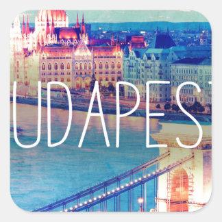 Sticker Carré Budapest, vintage affiche