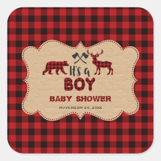 Sticker Carré Buffalo rouge de bûcheron petit baby shower de