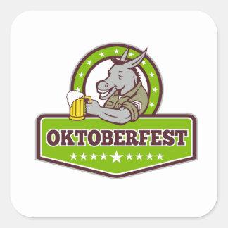 Sticker Carré Buveur de bière d'âne Oktoberfest rétro