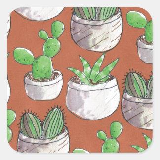 Sticker Carré cactus