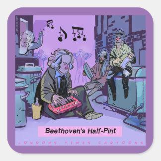 Sticker Carré Cadeau drôle de demi de pinte de Beethoven
