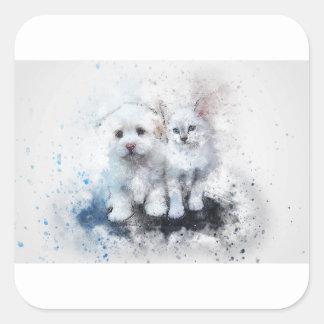 Sticker Carré Cadeaux animaux mignons
