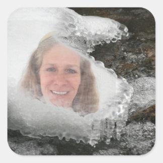 Sticker Carré Cadre de photo de glaçons de rivière