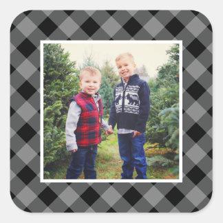 Sticker Carré Cadre gris de plaid de la photo | de vacances