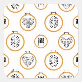 Sticker Carré Cadres de broderie de tapisserie à l'aiguille