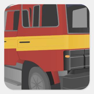 Sticker Carré Camion de pompiers