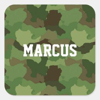Sticker Carré Camouflage vert nommé fait sur