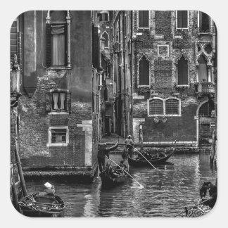 Sticker Carré Canal de bateau de gondole de Venise Italie