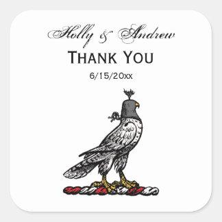 Sticker Carré Capot de port C de casque de faucon héraldique de