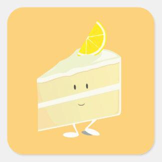 Sticker Carré Caractère de tranche de gâteau de citron