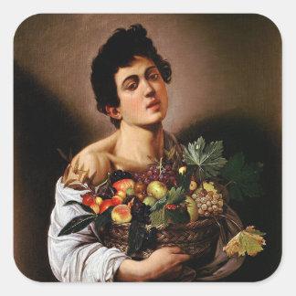 Sticker Carré Caravaggio - garçon avec un panier d'illustration