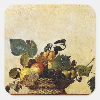 Sticker Carré Caravaggio - panier de fruit - illustration