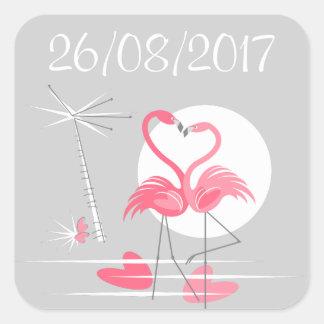 Sticker Carré Carré d'autocollant de date d'amour de flamant