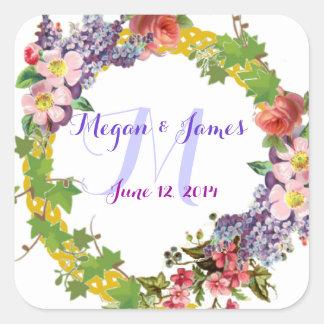 Sticker Carré Carré de mariage personnalisé par fleurs vintages