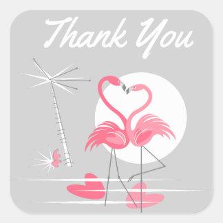 Sticker Carré Carré de Merci d'autocollant d'amour de flamant