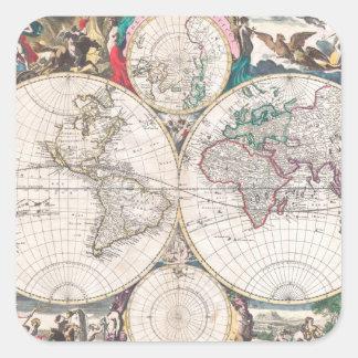 Sticker Carré Carte antique du monde de Double-Hémisphère