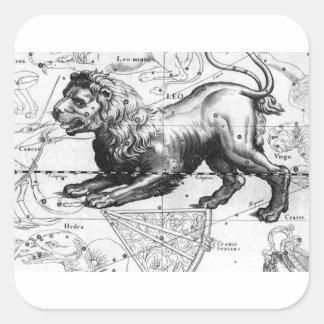 STICKER CARRÉ CARTE DE CONSTELLATION DE LION DANS LE CIEL D'ÉTÉ