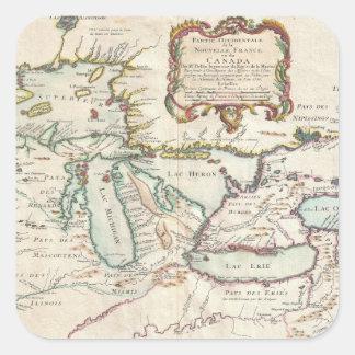 Sticker Carré Carte de cru de Great Lakes