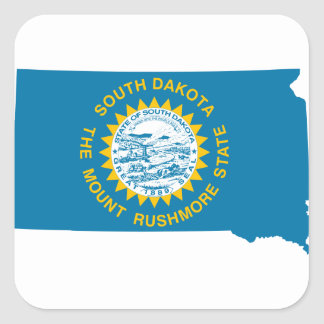 Sticker Carré Carte de drapeau du Dakota du Sud