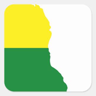 Sticker Carré Carte de drapeau du Delaware LGBT