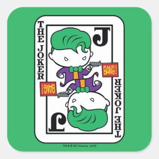 Sticker Carré Carte de jeu de joker de Chibi