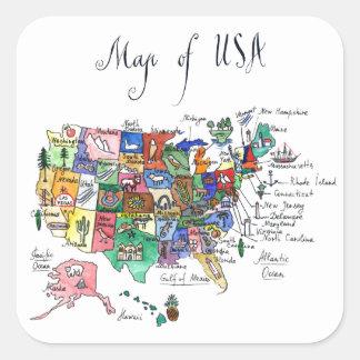 Sticker Carré Carte des attractions des Etats-Unis d'Amérique