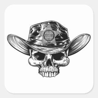 Sticker Carré Casquette de cowboy de crâne d'insigne d'étoile de