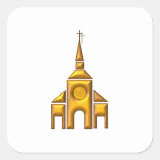 """Sticker Carré Cathédrale """"à trois dimensions"""" d'or"""
